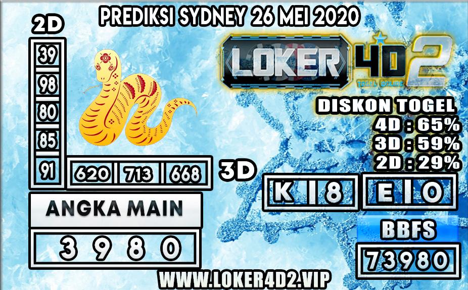PREDIKSI TOGEL SYDNEY LOKER4D2 26 MEI 2020