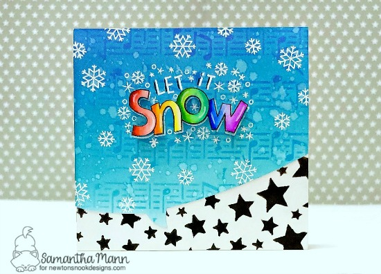 Let it Snow Card by Samantha Mann | Let it Snow Stamp Set, Speech Bubbles Die Set, Music Stencil and Cascading Stars Stencil by Newton's Nook Designs #newtonsnook #handmade