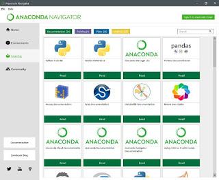 Learning Tab in anaconda navigator application window