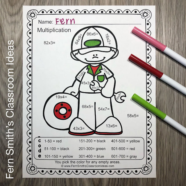 Click Here to Grab This Community Helpers Career Themed Color By Number 2-Digit By 1-Digit Multiplication Printable Worksheet Resources Bundle