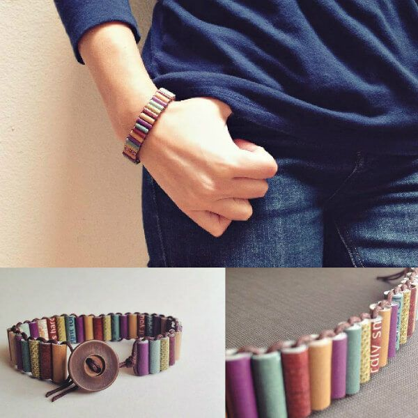 paper bead cuff bracelet in muted shades with button closure