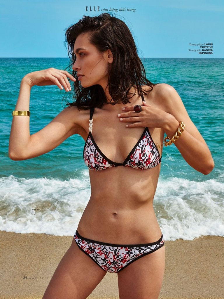 Laura Sanchez strips to swimwear for Elle Vietnam