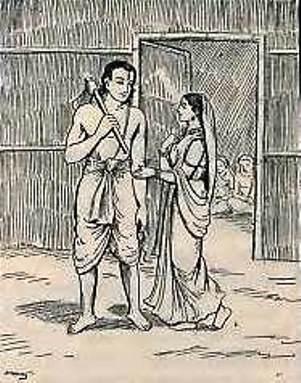 सावित्री अपने पति सत्यवान से कहती है कि वह उसके साथ जंगल जाए। (सौजन्य: गीता प्रेस द्वारा हिंदी में महाभारत)