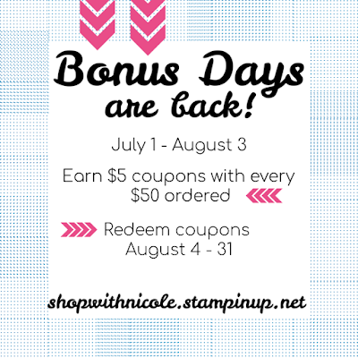 stampin' up! promotions, bonus days, stamping coupons, stamping sales, stampin' up! demonstrator
