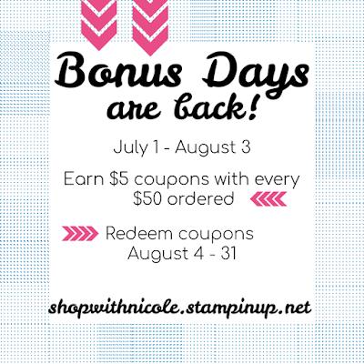 stampin' up! promotions, bonus days, stamping coupons, stamping sales, stampin' up! demonstrator