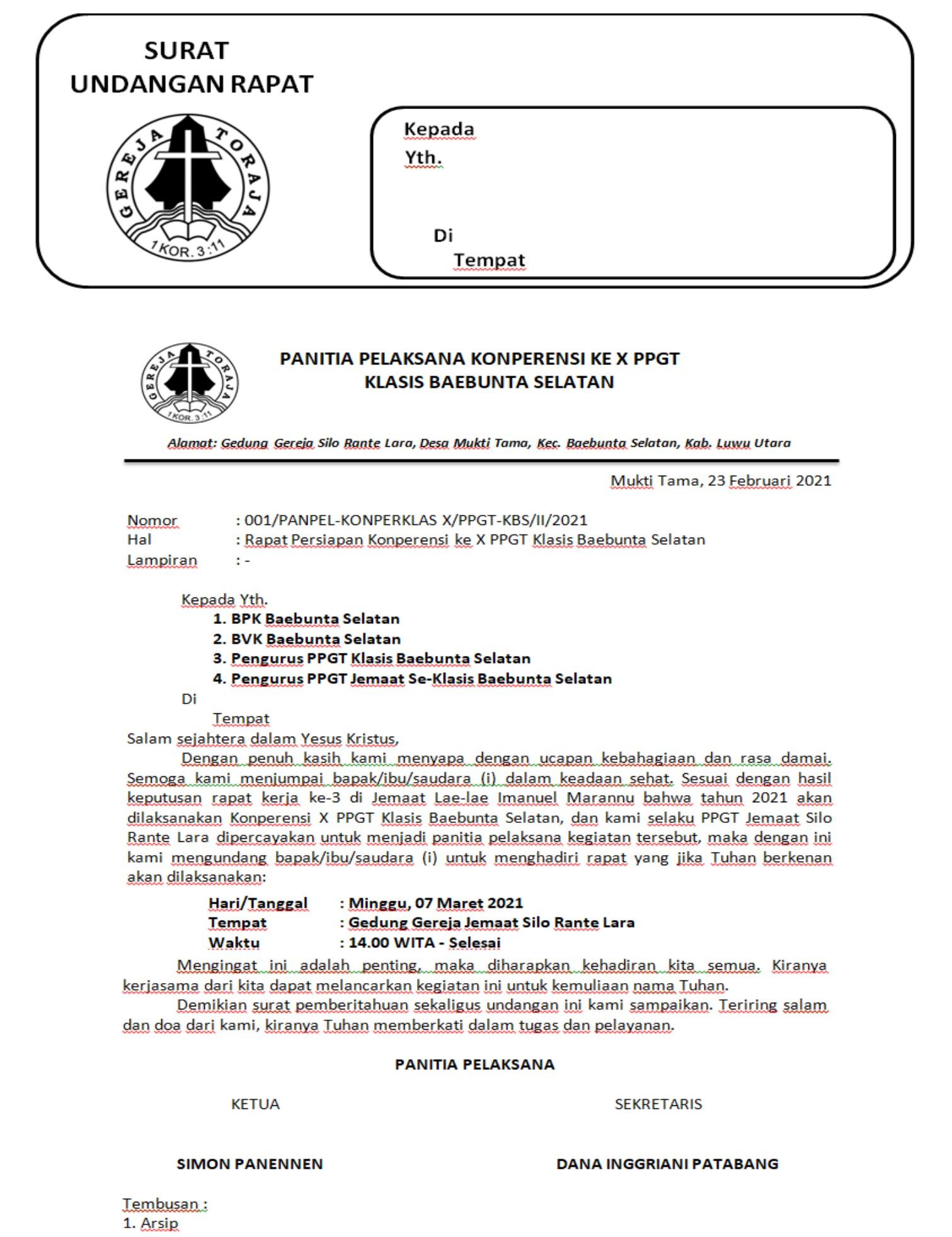 Contoh Surat Undangan Konperensi PPGT
