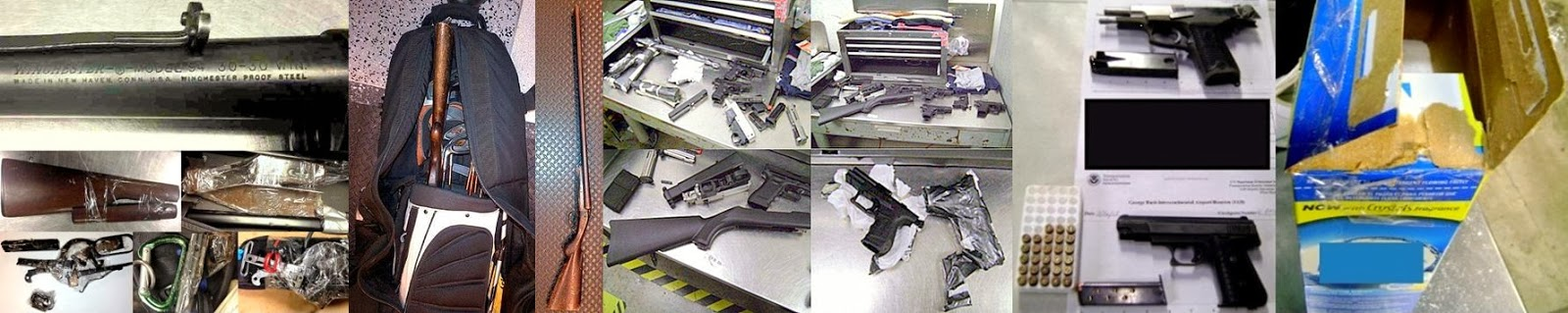 Left to Right: Unassembled Rifle (BOS), Shotgun in Golf Bag (DTW), Seven Firearms in Toolbox (MIA), Guns In Detergent (IAH)