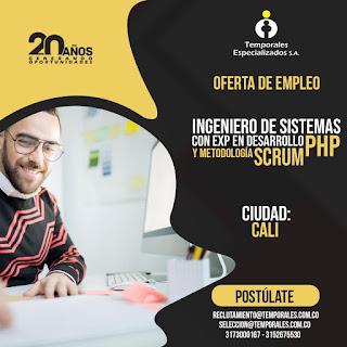 Oferta de Trabajo 💡 y Empleo en Cali como INGENIERO DE SISTEMAS - PHP