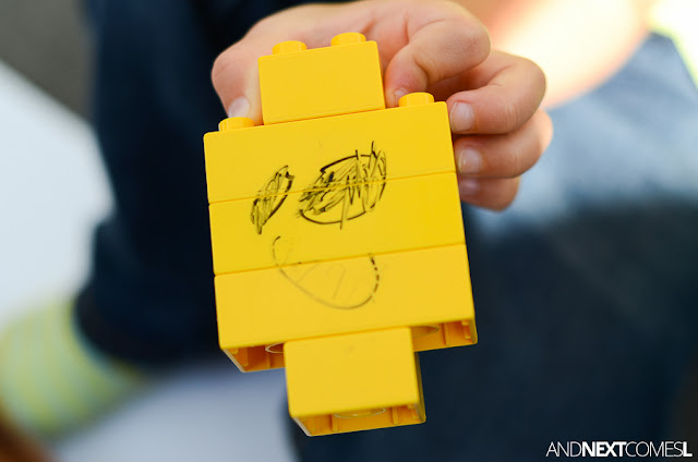Emotion drawing prompt for kids using LEGO from And Next Comes L