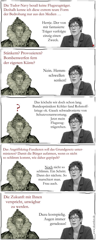 Grundgesetz, Verfassung, Flugzeugträger, Angriffsministerin, Kramp-Karrenbauer, Satire, Comic, Collage, Politik, Angriffskrieg