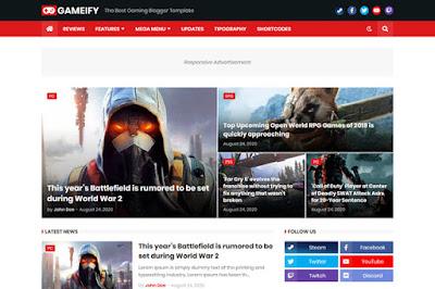 Gameify - Blog & Magazine Gaming Premium Blogger Template