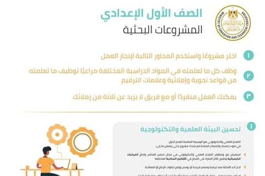 خطوات عمل البحث وموضوعات المشروعات البحثية للصف الاول الاعدادى