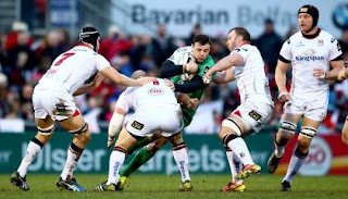 Robbie Henshaw Tackled v Ulster