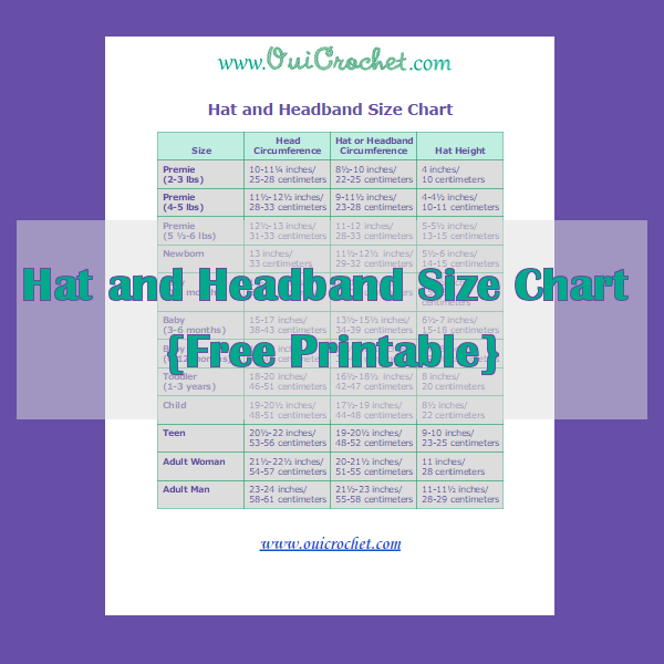 Hat and Headband Size Chart