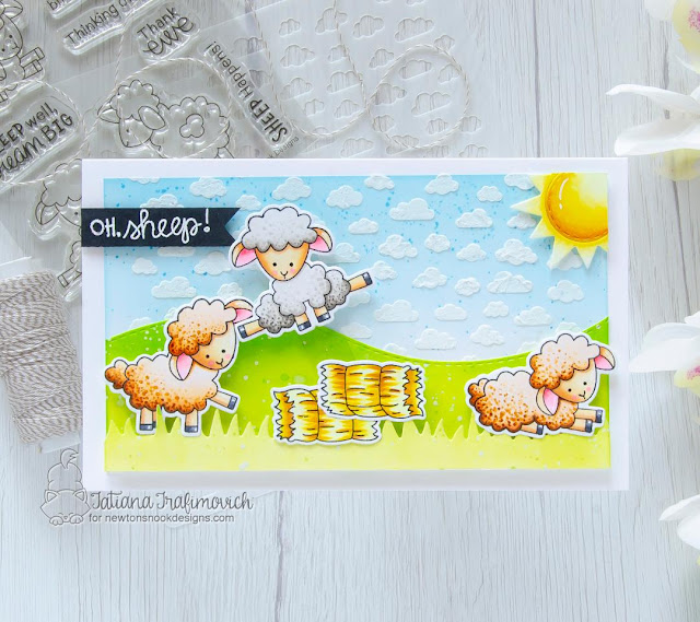 Oh Sheep! Interactive Card by Tatiana Trafimovich   Baa Stamp Set, Moo Stamp Set, Petite Clouds Stencil, and Land Borders and Sky Scene Builder Die sets by Newton's Nook Designs #newtonsnook #handmade