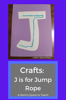 text: Crafts: J is for Jump Rope; A Mom's Quest to Teach; photo of letter J made of construction paper with yarn glued on it