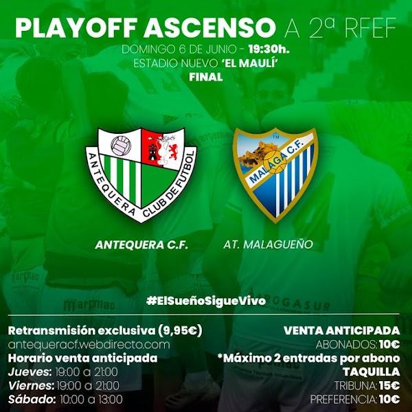 Antequera y Atlético Malagueño se juegan esta tarde el ascenso (19:30)