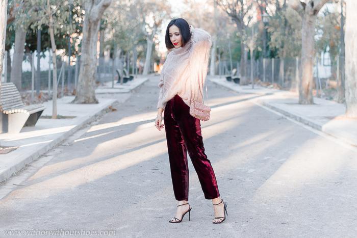 moda tendencias Streetstyle Ideas para un Look abrigado de fiesta pantalones de terciopelo burdeos y jersey de lana