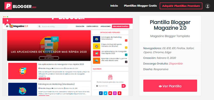 Vista previa de la web de plantillas blogger