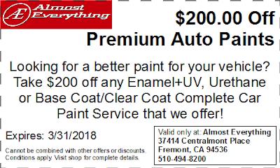 Discount Coupon $200 Off Premium Auto Paint Sale March 2018
