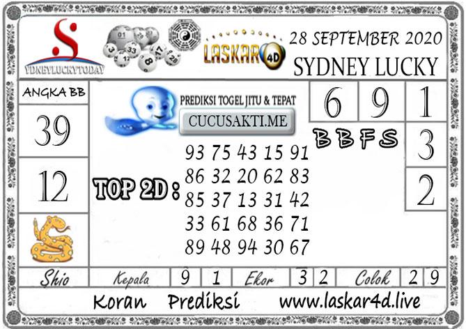 Prediksi Sydney Lucky Today LASKAR4D 28 SEPTEMBER 2020