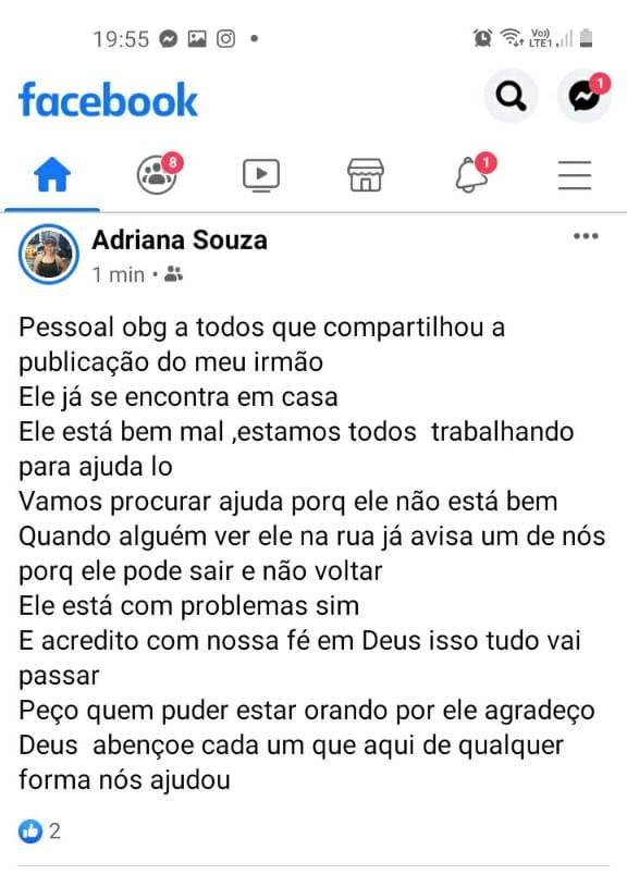 Desaparecido -  Fabiano de Souza Ferreira em Pariquera-Açu