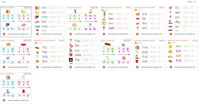 Mama Love Print 自製工作紙 - Phonics Resources 英文拼音練習 CVC Practice Worksheets 英文拼音CVC練習 Short A.E.I.O.U (Total 8 books ) Free Download Printable