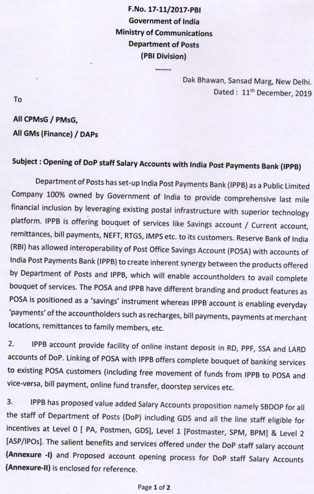 Opening of DOP staff Salary Accounts with IPPB Bank