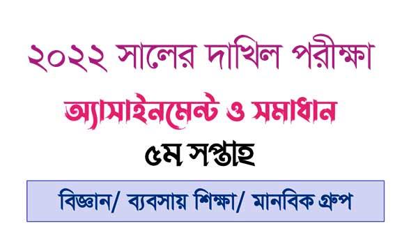 Dakhil Assignment 2022 All Subject 6th Week
