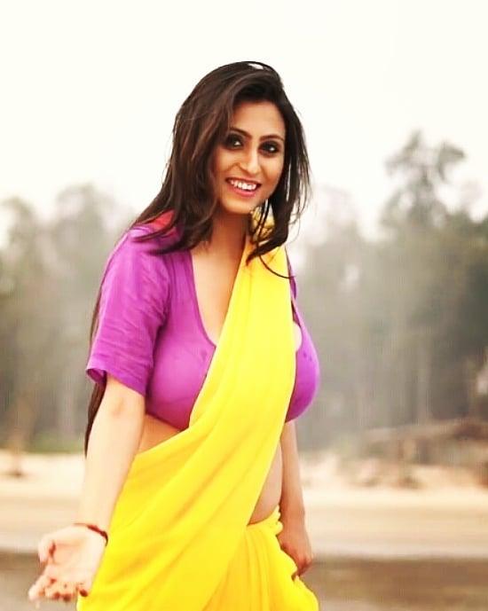 Bengali Bomb Priya Chakraborty Hot Open Cut Saree Blouse -8780