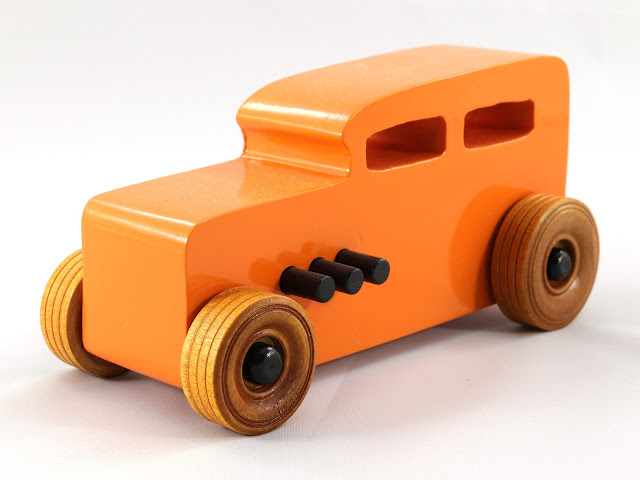 Handmade Wooden Toy Car Hot Rod 1932 Ford Sedan From the Hot Rod Freaky Ford Series Orange & Black