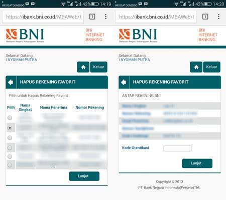 Cara Hapus Daftar Transfer Rekening BNI Internet Banking