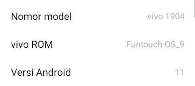 Tentang ponsel: Vivo Y12 Versi Androd 11