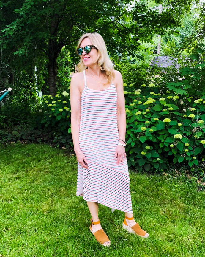 red, white and blue striped dress