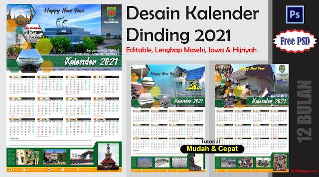 Desain Kalender Dinding 2021 12 Bulan PSD