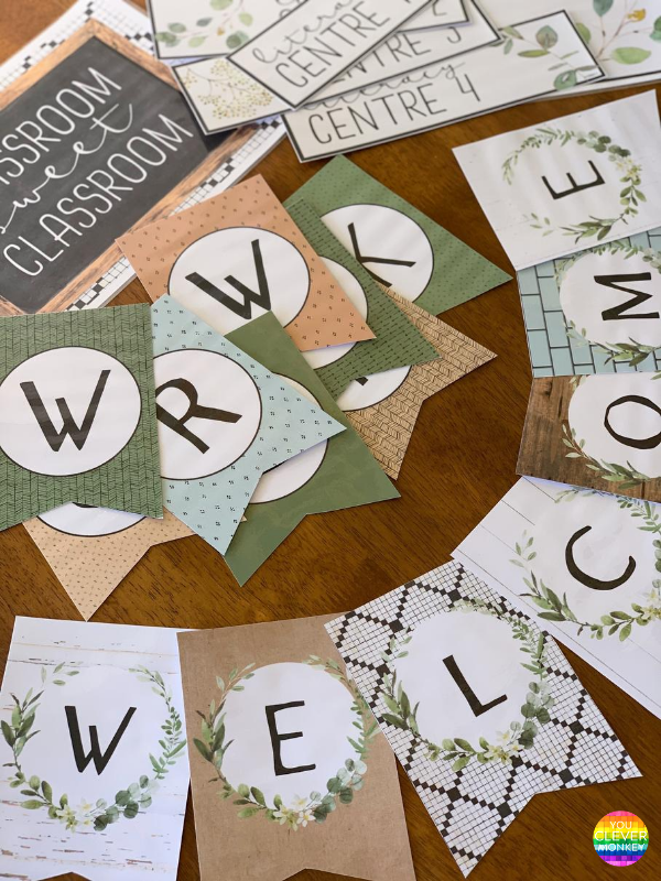 MODERN FARMHOUSE Classroom Bunting Pack | you clever monkey