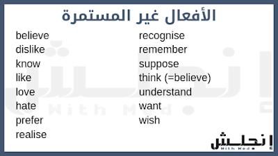 أفعال التفكير و المشاعر - شرح المضارع المستمر - الأفعال غير المستمرة Stative verbs