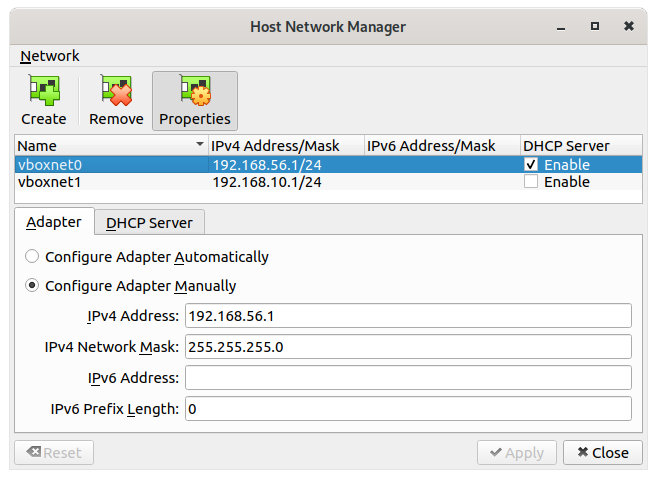 Figure 24: Host Only adapter settings