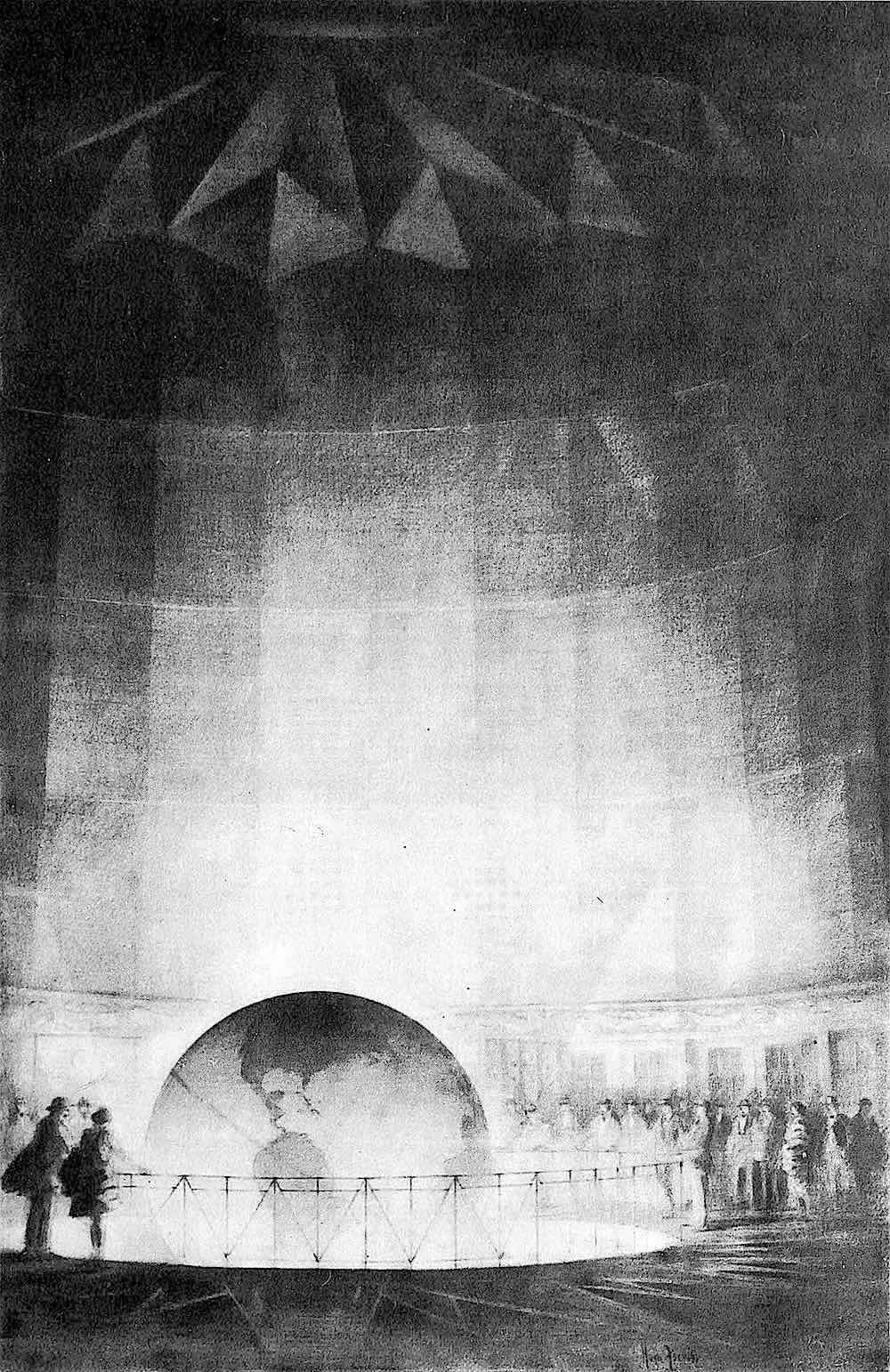 a Hugh Ferriss 1929 drawing of the Daily News Building Globe
