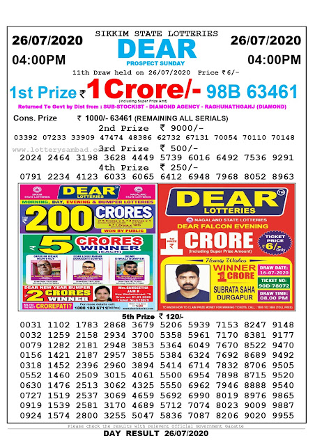 Sikkim State Lottery Sambad 26-07-2020 Today Result 4 PM