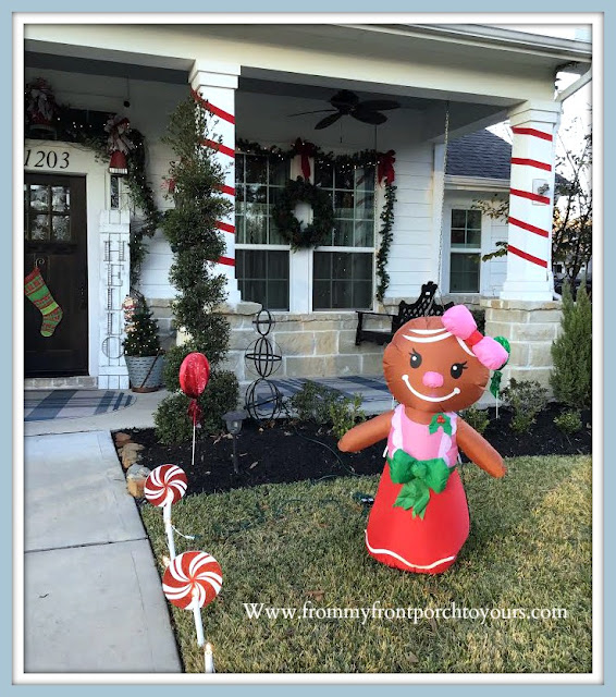 Cottage- Farmhouse- Christmas- Porch-Ribbon-Wrapped-Columns-Gingerbread-Girl- -From My Front Porch To Yours