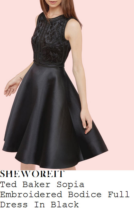 jacqueline-jossa-ted-baker-sopia-black-embroidery-panel-detail-sleeveless-high-waisted-full-skirt-satin-prom-dress