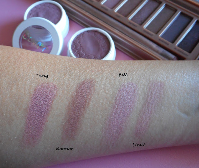 Colourpop dusty mauve mattes vs UD dusty mauve mattes from Naked 3 palette