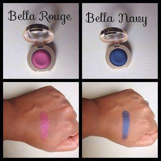 Milani bella eyes gel powder eyeshadows in bella rouge and bella navy swatched on dark skin