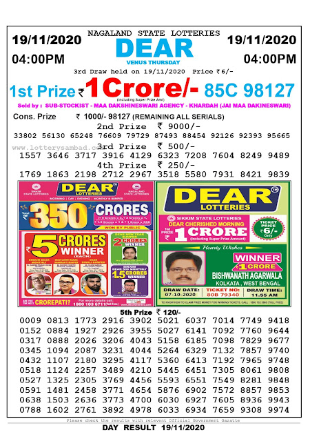 Lottery Sambad 19.11.2020 Today Results 4:00 pm, Nagaland State Lottery Sambad Today Result 4 pm, Sambad Lottery, Lottery Sambad Live Result Today