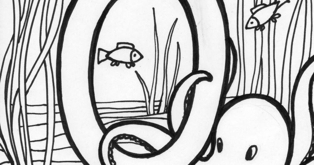 Printable preschool alphabets, uppercase letter O octopus
