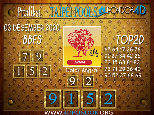 Prediksi Togel TAIPEI PONDOK4D 03 DESEMBER 2020
