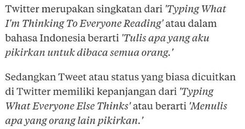 Singkatan Twitter dan Tweet