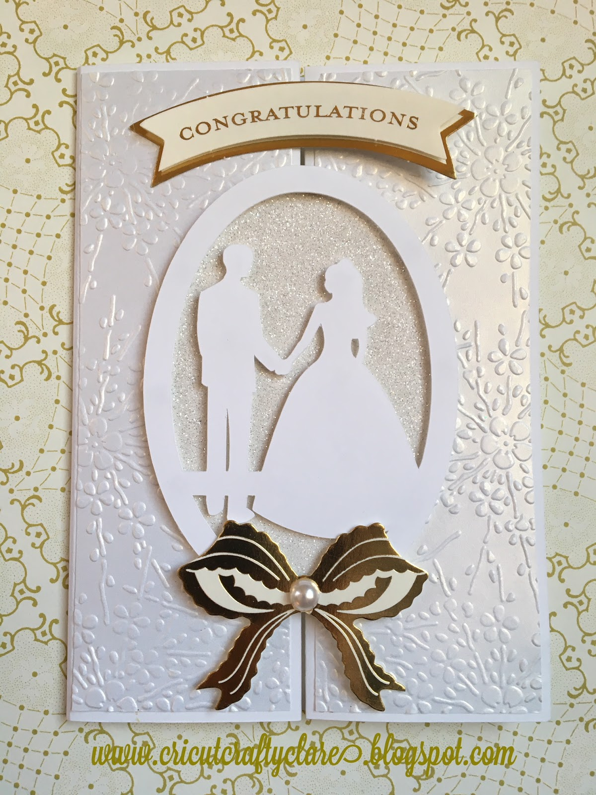 Cricutcraftyclare White Winter Wedding Card With Anna Griffin And