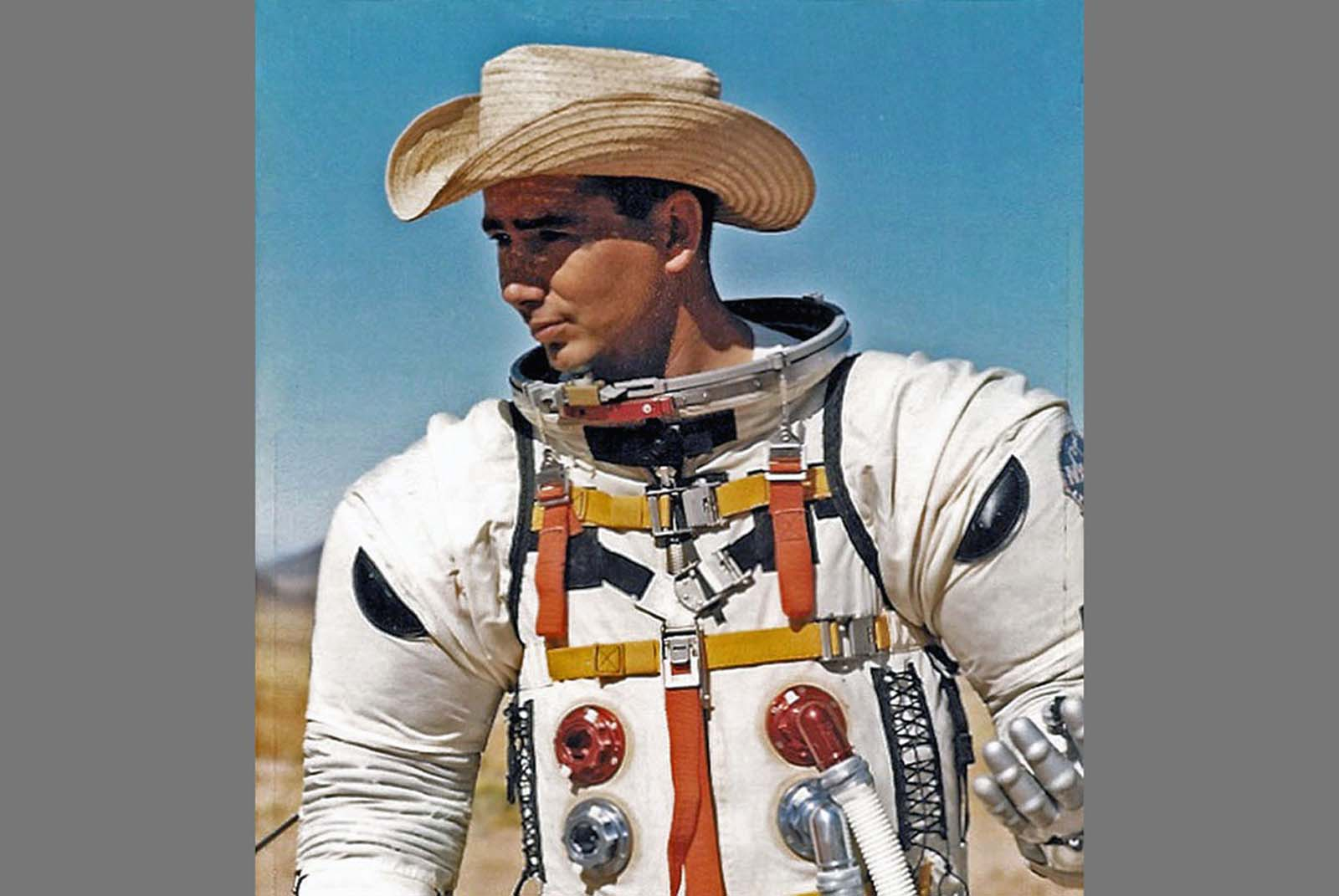 The USGS geologist Joe O'Connor wears an early version of the Apollo spacesuit during testing in the fall of 1965, at Apollo mesa dike in the Hopi Buttes volcanic field in Arizona.